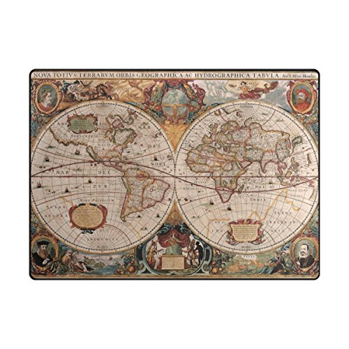 INGBAGS Super Soft Modern Old World Map Area Rugs Living