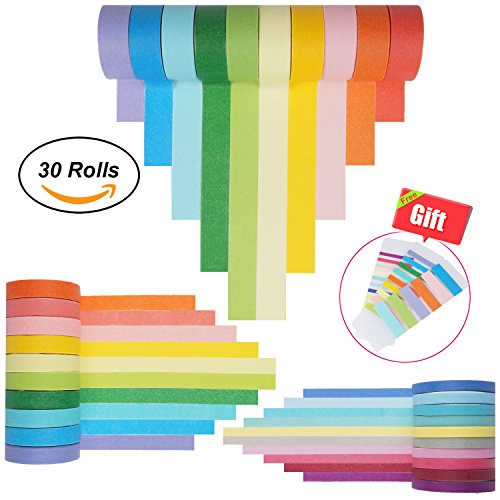 Washi Tape Set 30 Rolls, Colorful Decorative Washi Masking Tape Collection for DIY Scrapbooking Craft Gift Wrapping Tapes(5MM,7.5MM and 15MM Wide) by Jeicy