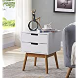 White/Light Walnut Finish Side End Table Nighstand with Two Drawer - Mid-Century Style