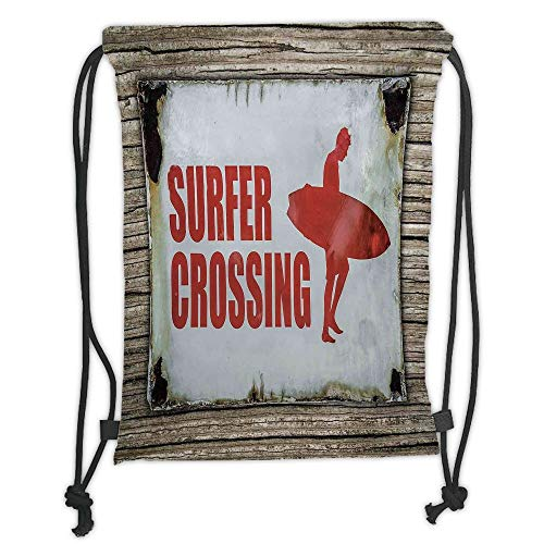 (New Fashion Gym Drawstring Backpacks Bags,Surf,Vintage Rusty Ironic Surfer Crossing Warning Sign on Wooden Background in Haiti,Red Cream Brown Soft Satin,Adjustable String Closure)