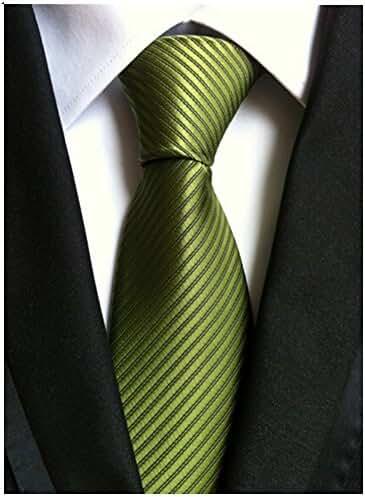 Allbebe Men's Handsome Striped Green Jacquard Woven Silk Tie Microfiber Necktie