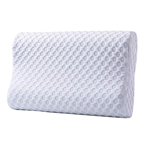 Cr Comfort & Relax Ventilated Memory Foam Gel Infused Contour Cooling Pillow, Standard, 1-Pack