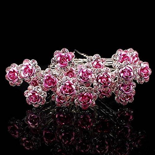 Buckdirect Worldwide Ltd. 20pcs Wedding Crystal Diamante Rose Flower Hair Clip Hair Accessories Pink