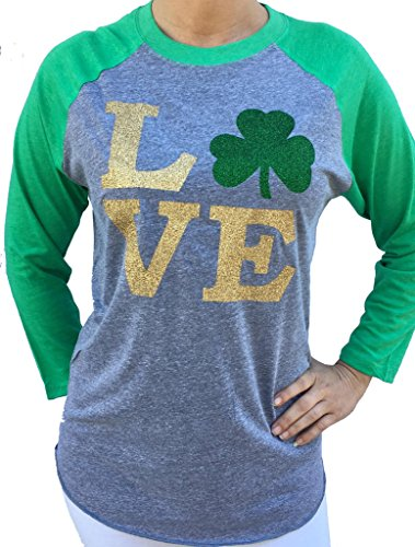 SoRock Women's St. Patrick's Day Glitter Love Shamrock 3/4 Sleeve Tri Blend Tshirt Large Green