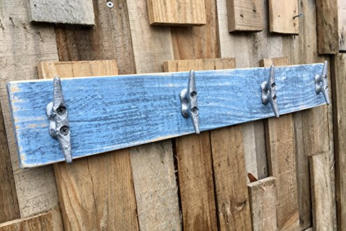 Nautical Boat Cleat Coat Rack, Distressed Blue