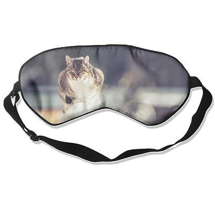 Gato Valla Invierno Dormir Ojos máscaras – Cómoda máscara de Dormir Cubierta de Ojos para Viajar
