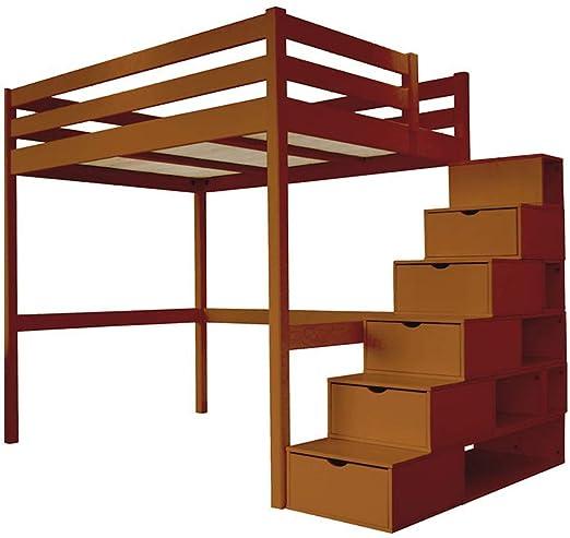 ABC MEUBLES - Cama Alta Sylvia con Escalera Cubo - Cube - Chocolate, 140x200: Amazon.es: Hogar
