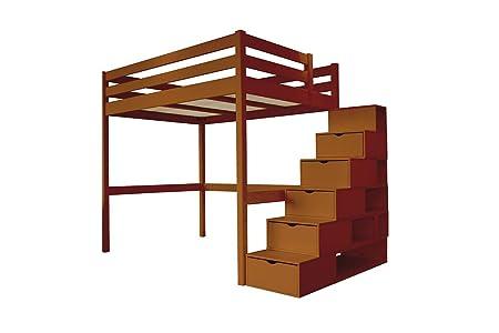 ABC MEUBLES - Cama Alta Sylvia con Escalera Cubo - Cube - Chocolate, 120x200: Amazon.es: Hogar