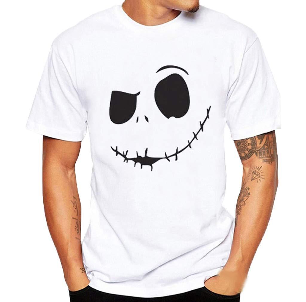 Zefotim Men'S Summer New Evil Smile Face Printed Round-Collar Comfortable T-Shirt Top - Grey