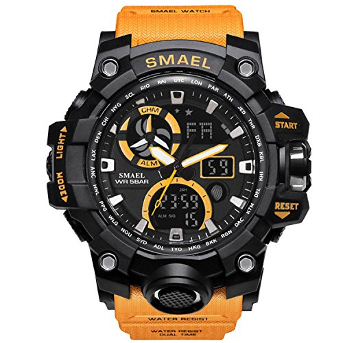 (Military Men's Sports Analog Quartz Watch Dual Display Alarm Digital Watches with LED Backlight (Orange))