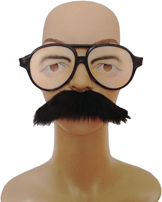 luoem gafas disfraz con bigote Artificial Auto Adhesiva: Amazon.es ...