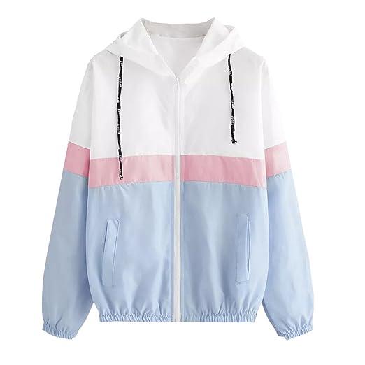 Womens Color Block Stripe Waterproof Raincoat Casual Thin Drawstring Hooded Zip up Sports Rian Jacket Windproof