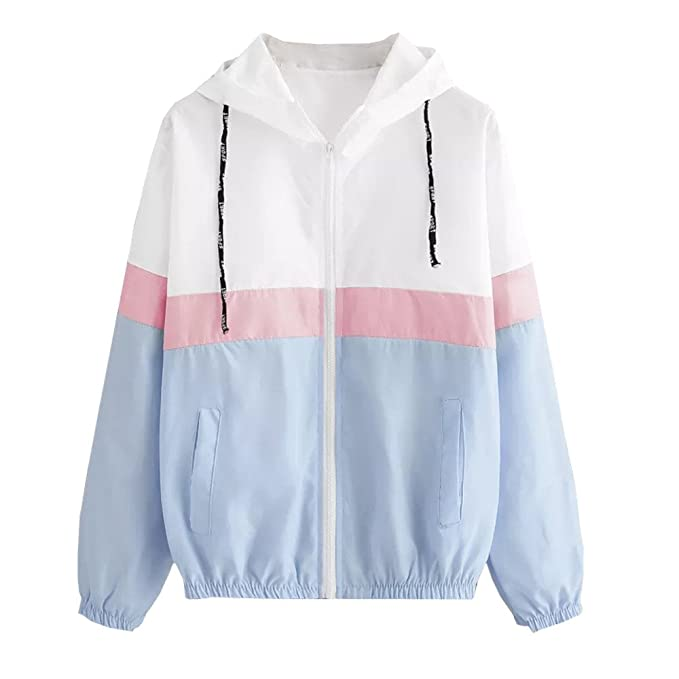 Womens Color Block Stripe Waterproof Raincoat Casual Thin Drawstring Hooded Zip up Sports Rian Jacket Windproof Windbreaker