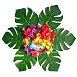 PROKTH 36 PCS Hawaii Style Monstera Leaves Simulation Tropical Palm Leaves Artificial Plant with Stem for Table Wall Decoration
