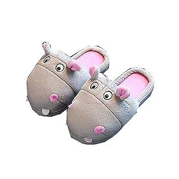 JLCP Zapatillas De Mujer Lindo Hipopótamo De Dibujos Animados De Fondo Suave Antideslizante Inicio Invierno Algodón Zapatos Gris,37/38: Amazon.es: Hogar