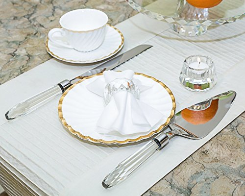 Donoucls Crystal Cake Knife and Server 2 Piece Dessert Serving Set, Silver-plate and Crystal Handle Christmas Decorations by DONOUCLS (Image #3)