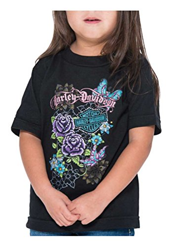 Harley-Davidson Little Girls' Glitter Butterfly Short Sleeve Toddler Tee (2T)