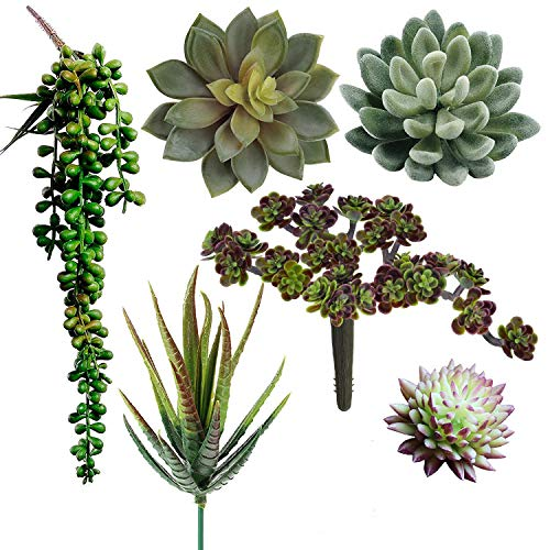 Supla Pack of 6 Assorted Artificial Succulents Plant Picks Textured Faux Succulent Pick Succulent Stems Fake Succulent Bouquet String of Pearls Succulent Faux Succulent Floral Arrangement Accent - Pear Wedding Cake Top