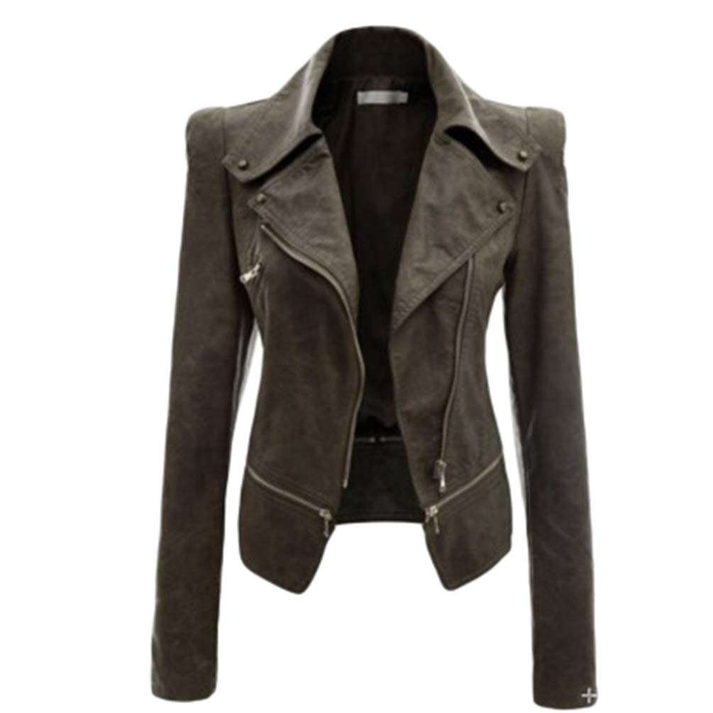 Yuanu Damen Herbst Winter Kunstleder PU Motorrad Biker Jacke Outwear Einfarbig Lange /Ärmel Revers Rei/ßverschluss Placket Mantel