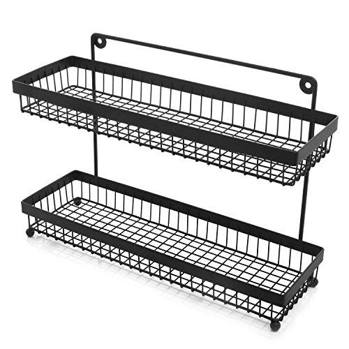 2 Tier Wire Frame Wall Mountable Metal Kitchen Spice Rack, Countertop Storage Shelves, Black