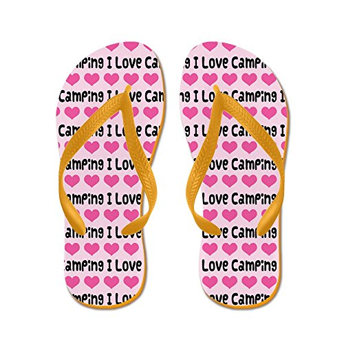Cafepress I Love Camping - Chanclas, Sandalias Thong Divertidas, Sandalias De Playa Naranja