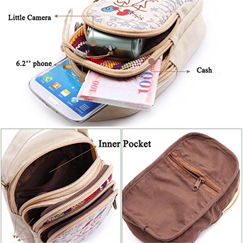 Bag Under Bag Pouch Phone Crossbody Women's Girls JOSEKO Universal S6 Samsung 7 8 Shoulder S5 S7 for Mini Slots Phone Ladies Cell Cell 6 5 Card Shoulder iPhone Red inches Canvas 5 Bag nfq67dx88w