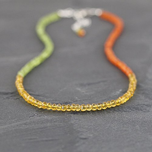 (JP_Beads Citrine, Peridot & Carnelian Beaded Necklace. Sterling Silver, Rose, Gold Filled Filled Filled. Multi, Color Block Gemstone Choker. Long Layering Necklace 3.5mm 16