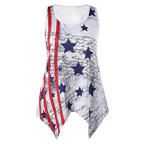 Women's Sleeveless Star Flag Lace Panel Top,Women Loose Handkerchief Tank Top Lace Neck Print T-Shirt Vest (L, Red)