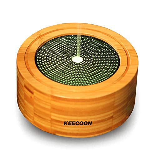 KEECOON 加湿器 アロマディフューザー 卓上 車載 超音波 竹製 エコ 呼吸ランプ 呼吸訓練モード ナイトライト 手入れ簡単 空焚き防止 多色変換LED付き タイマー機能 おしゃれ