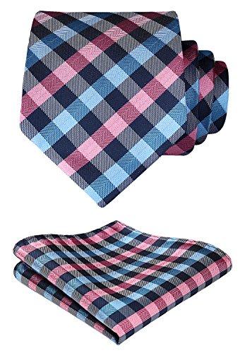 HISDERN Plaid Tie Handkerchief Woven Classic Stripe Men's Necktie & Pocket Square Set,Pink & Blue,One Size
