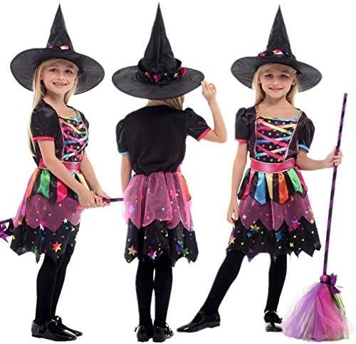 LXJ Disfraz de Bruja arcoíris para niñas con Sombrero, Disfraz de ...