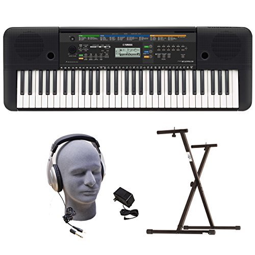 Yamaha PSRE253 Portable Keyboard with Headphones, Power Supply, and Secure Bolt Stand