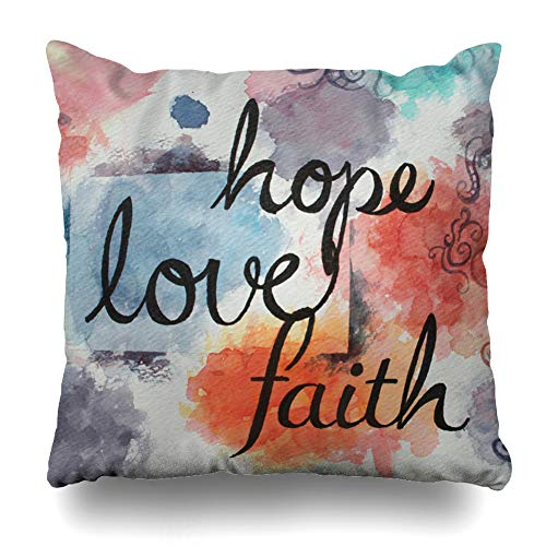 ArTmall Throw Pillow Case Purple Written Message Faith Hope Love Large in Black Cursive Handwriting On Watercolor Artsy Design Zippered Pillowcase Square Size 16 x 16 Inches Home Decor Cushion Covers