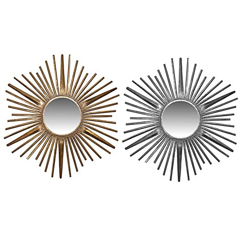Silver Dresser N Mirror (Essential Décor & Beyond METAL MIRROR SILVER N GOLD FINISH H 28 X 28 IN)