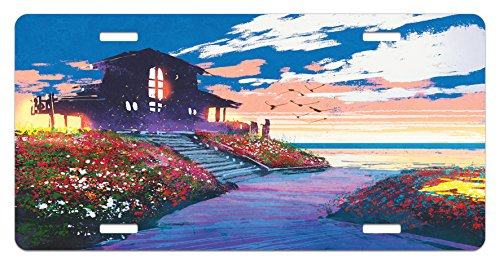 Fantasy License Plate by Lunarable, Cottage Beach House at Seascape Floral Garden with Gulls Skyline Natural Scene, High Gloss Aluminum Novelty Plate, 5.88 L X 11.88 W Inches, Multicolor