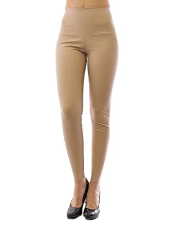 ae146ba5d4751 yeset New Leggings lang Lederimitat Treggings Kunstleder Matt hoher Bund