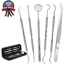 Dental Tools,Patekfly Stainless Steel 6 PACK Dental Pick Dental Floss , Dental Hygiene Tool Set,Tooth Scraper Plaque Tartar Remover Dental Tweezers Gum Floss for Personal Oral Care & Pet Use