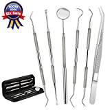 Dental Tools,Patekfly Stainless Steel 6 PACK Dental Pick Dental Floss, Dental Hygiene Tool Set,Tooth Scraper Plaque Tartar Remover Dental Tweezers Gum Floss for Personal Oral Care & Pet Use