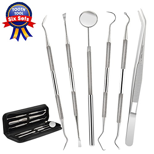 Dental Tools,Patekfly Stainless Steel 6 PACK Dental Pick Dental Floss, Dental Hygiene Tool Set,Tooth Scraper Plaque Tartar Remover Dental Tweezers Gum Floss for Personal Oral Care & Pet (Use Gum Remover)