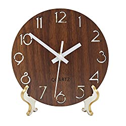 Jomparis Rustic Country Tuscan Style Wooden Desk Shelf Clock / Wall Clock Powered by Battery Operated Small Decorate (Brown,6 Inches)