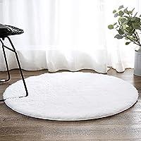 LEEVAN Contemporary Plush Area Rug Super-Soft Microfiber Non-slip Rubber Backing Shaggy Round Rugs Floor Mat Shag Rug (3 ft, White)