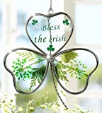 Shamrock - Garden Suncatcher - Pressed Flowers Inside a Glass Shamrock - Bless the Irish Printed on the Glass – St Patrick's Day Decoration, Irish Gift, Mom, Mother-in-law, In-law Gift, Irish Family, Garden