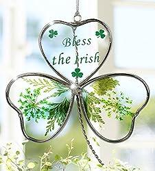 Shamrock - Garden Suncatcher - Pressed Flowers Inside a Glass Shamrock - Bless the Irish Printed on the Glass - St Patrick's Day Decoration, Irish Gift, Mom, Mother-in-law, In-law Gift, Irish Family, Garden
