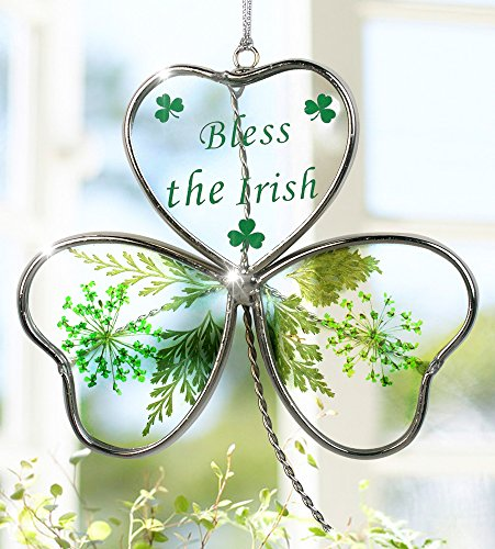 Shamrock - Garden Suncatcher - Pressed Flowers Inside a Glass Shamrock - Bless the Irish Printed on the Glass – St Patrick's Day Decoration, Irish Gift, Mom, Mother-in-law, In-law Gift, (Stained Glass Shamrock Suncatcher)