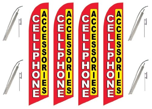 Four (4) Pack Swooper Flags & Pole Kits Cell Phone Access...