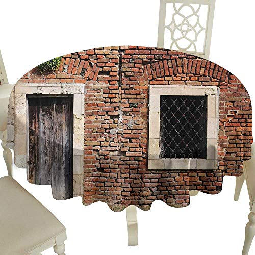 - Gingham Round Tablecloth 50 Inch Rustic,Old Door and Window Brick Wall Suburban Area European Aged House Entrance,Brown Cream Redwood Suitable for Home Coffee Bar,Party,Wedding,& More