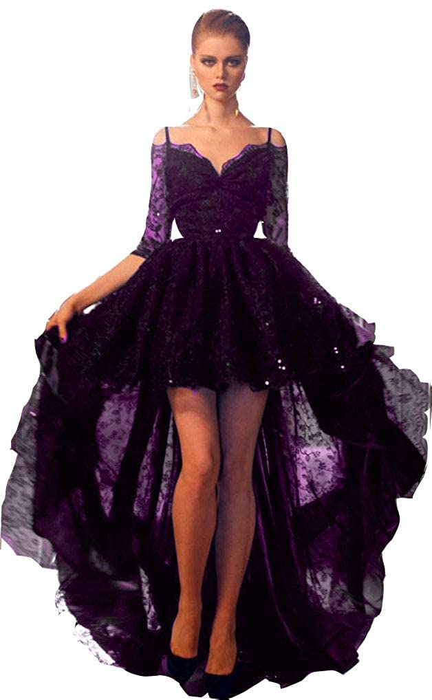 Purple Aiyue Yishen Women's Lace High Low Prom Dresses 1 2 Long Sleeves Formal Party Gowns Spaghetti Straps Evening Dress