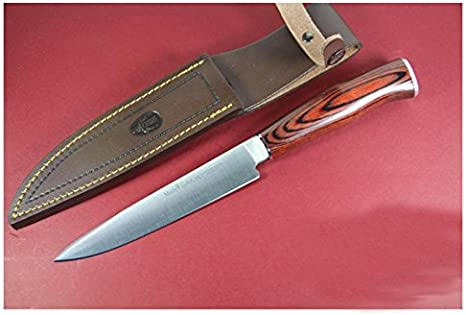 con pu/ño de Madera prensada Cocobolo y Casquillo INOX Electropolis Cuchillo de Caza Muela Gaucho GAUCHO-20CO Tarjeta Multiusos de Regalo Hoja de 20 cm