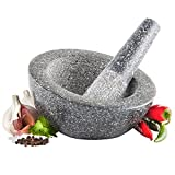 VonShef Premium Gray Granite Stylish Angled Mortar and Pestle Spice Herb Grinder Set - 6.5 Inch Diameter - Perfect For Making Guacamole Salsa Curry and Pesto