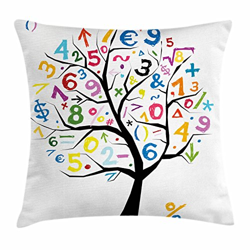Lunarable Mathematics Classroom Throw Pillow Cushion Cover, Artful Tree with Colorful Numbers Math Symbols Funny Kids Drawing, Decorative Square Accent Pillow Case, 36 X 36 inches, Multicolor by Lunarable